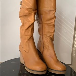 Bronx  leather boots- knee high- light brown
